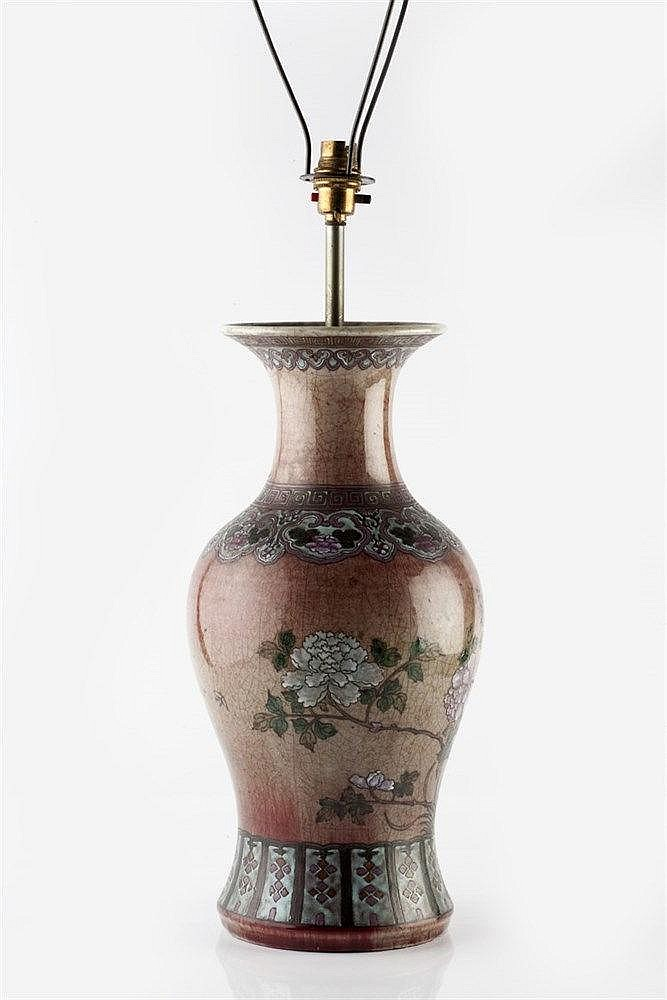 A Chinese peach ground baluster vase late 19th Century with paint