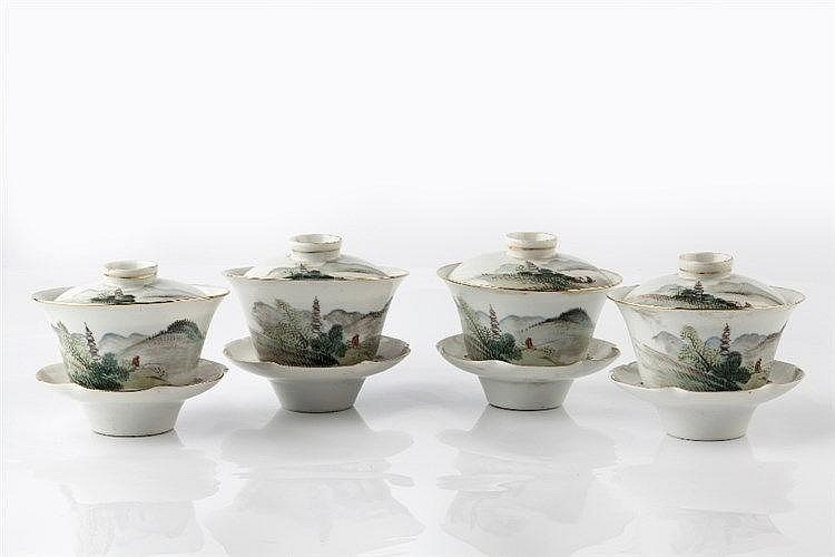 A set of Chinese tea bowls, covers and stands 20th Century each with