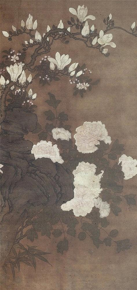 A Chinese scroll fragment Qianlong (1711 - 1799) depicting peonie