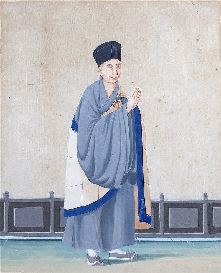 Chinese School 19th Century depicting a presit, on gouache, image size