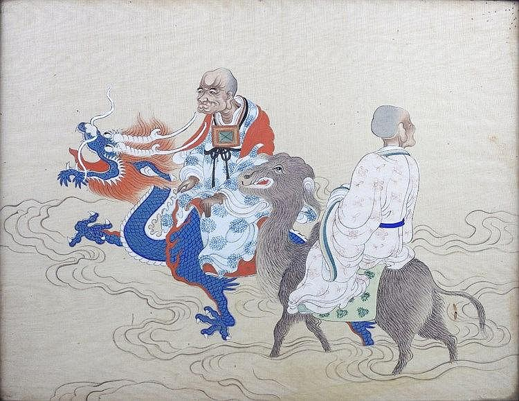 Chinese School 19th Century Immortals travelling on a sacred dragon an