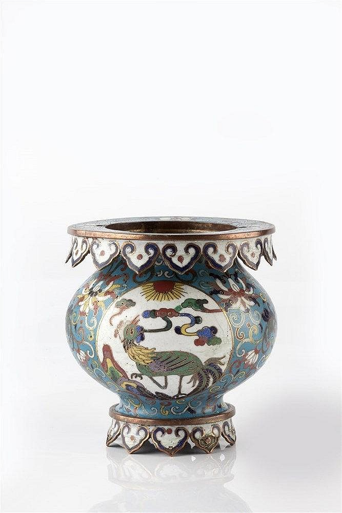 A Chinese cloisonne enamel basket form vase 19th Century the globular