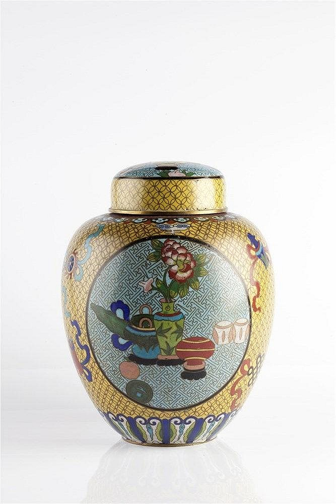 A Chinese yellow ground cloisonne jar and cover 19th Century with blue