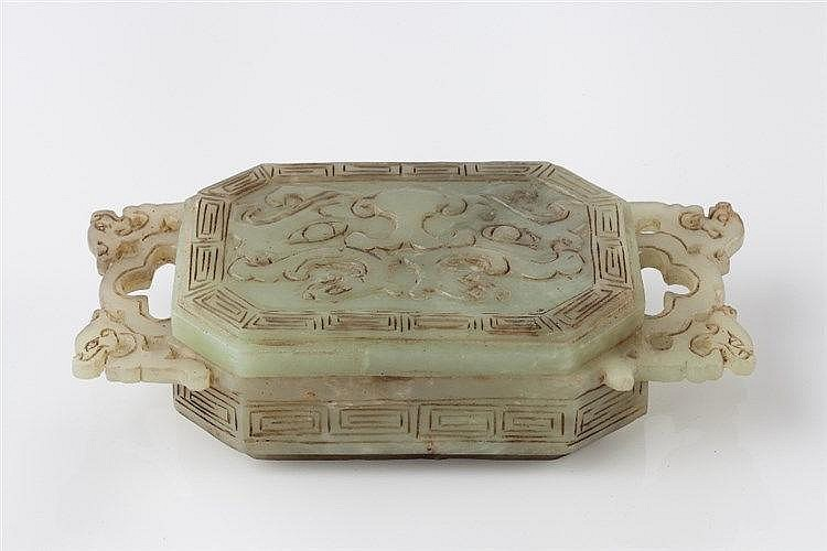 A Chinese carved jade box and cover late 19th Century with dragon