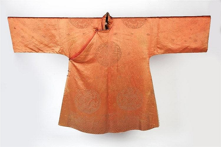 A Chinese ladies coat 19th Century embroidered with 8 roundels above w
