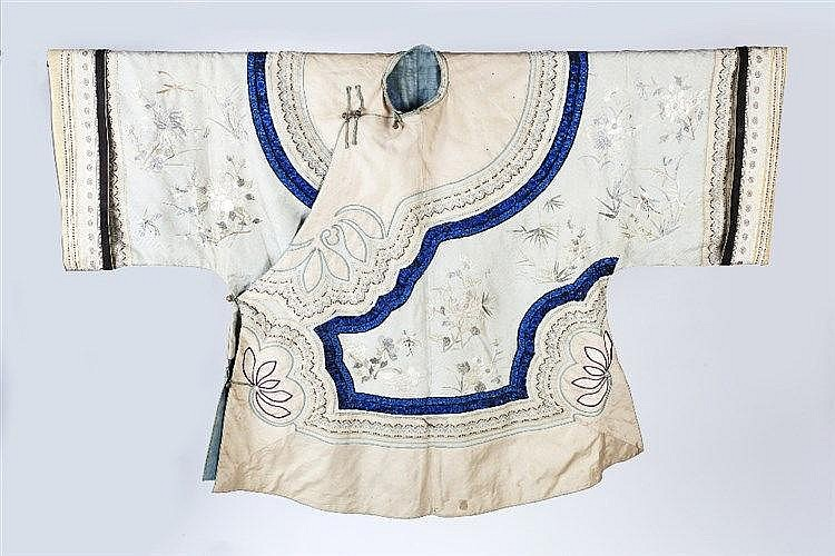 A Chinese ladies coat 19th Century embroidered with chrysanthemum and