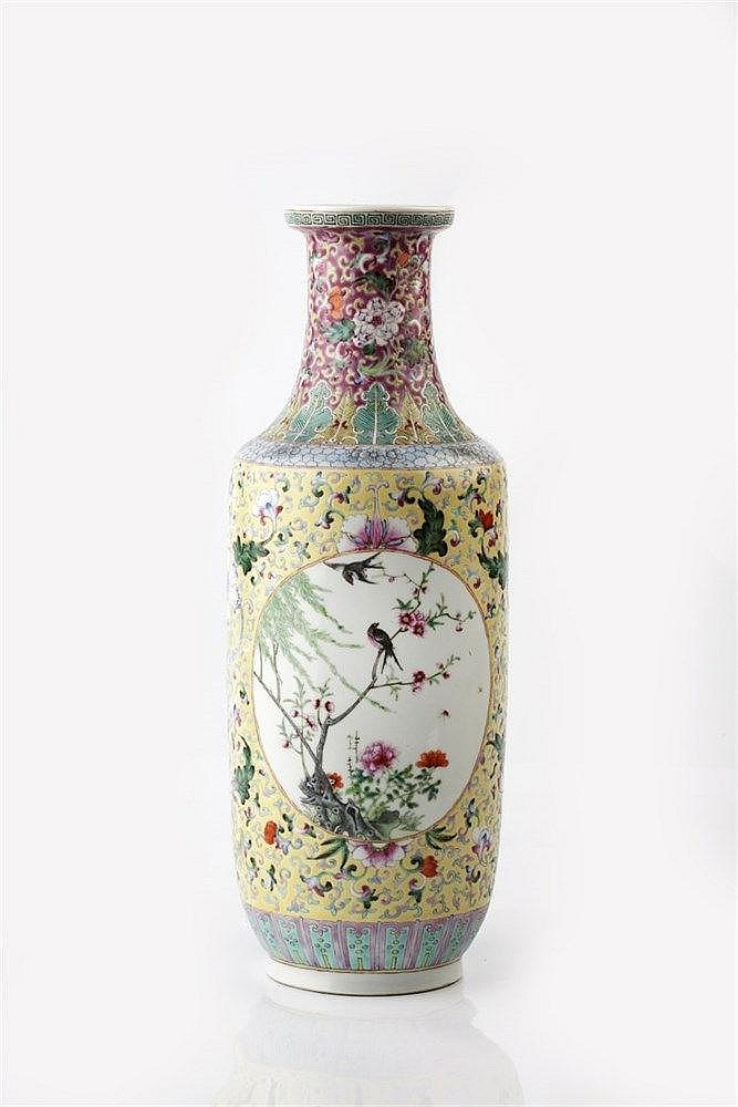 A Chinese porcelain rouleau form vase late 19th Century decorated
