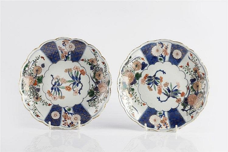 Two Chinese Imari saucers Kangxi Period (1662-1722) each with sca