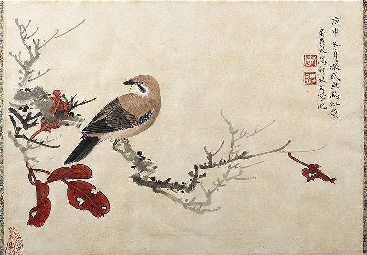 20th Century A Chinese ink and coloured wash study of a bird on a bran