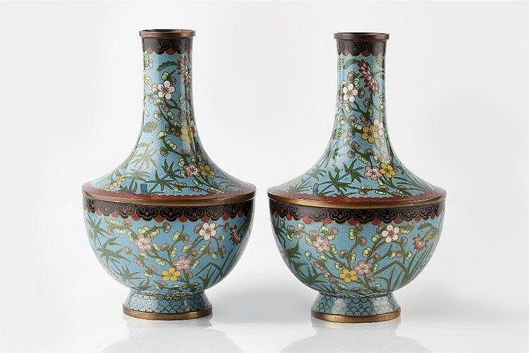 A pair of Chinese cloisonne vases early 20th Century of blue grou