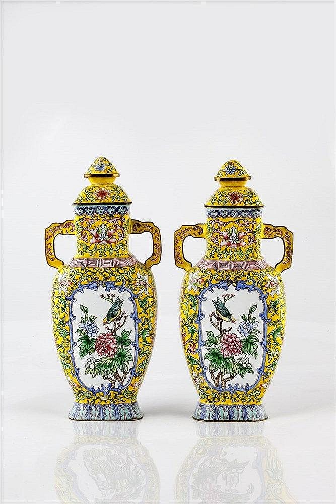 A pair of Chinese yellow ground enamel two handled vases 19th/20th Century