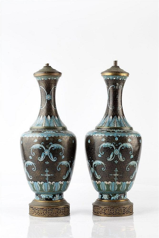 A pair of cloisonne vases late 19th Century of black ground, conv