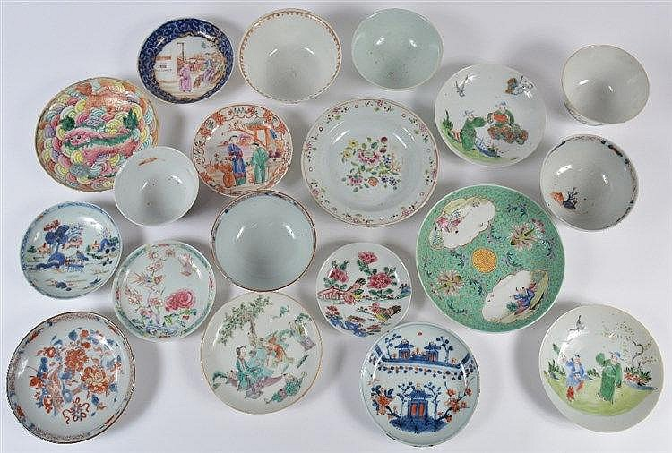 A collection of thirteen Chinese saucer dishes 18th/19th Century inclu