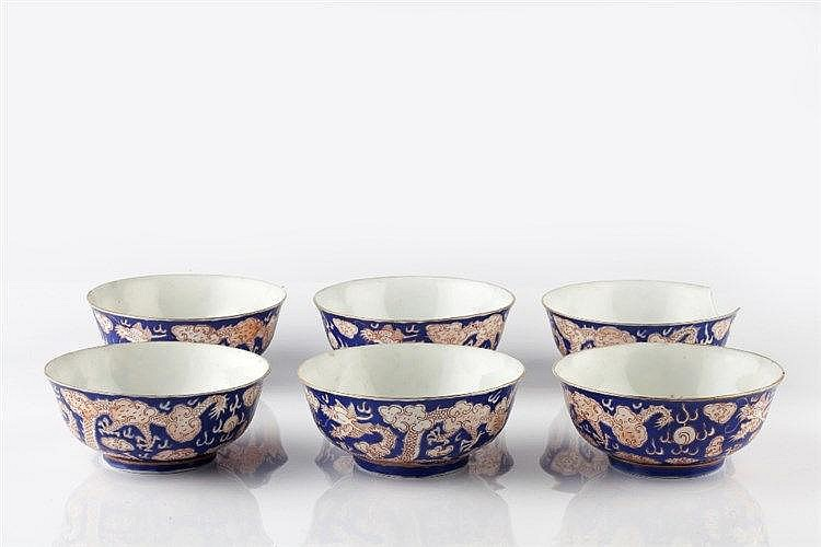 A set of six Chinese blue enamel bowls  late 19th/early 20th Century