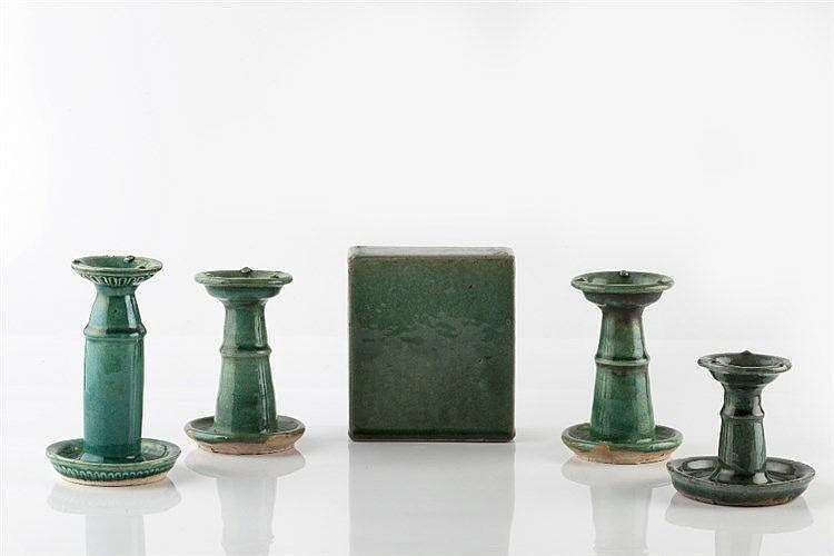 Two pairs of Chinese green porcelain candlesticks circa 1920 and