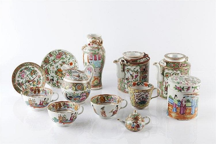 A collection of Chinese Canton  19th Century to include two teapots, a
