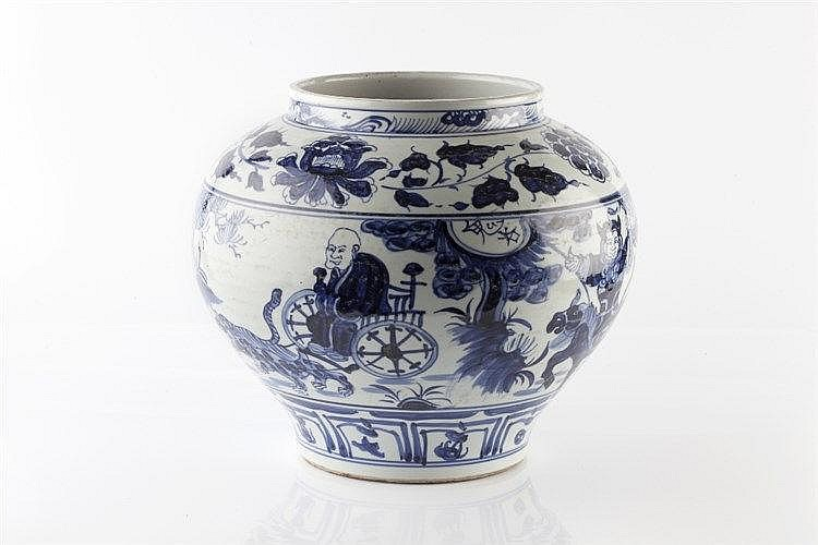 A Chinese Yuan style blue and white porcelain jar 20th Century decorat