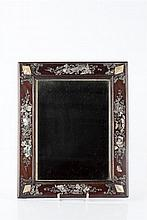 A Chinese hardwood and mother of pearl framed mirror late 19th Century