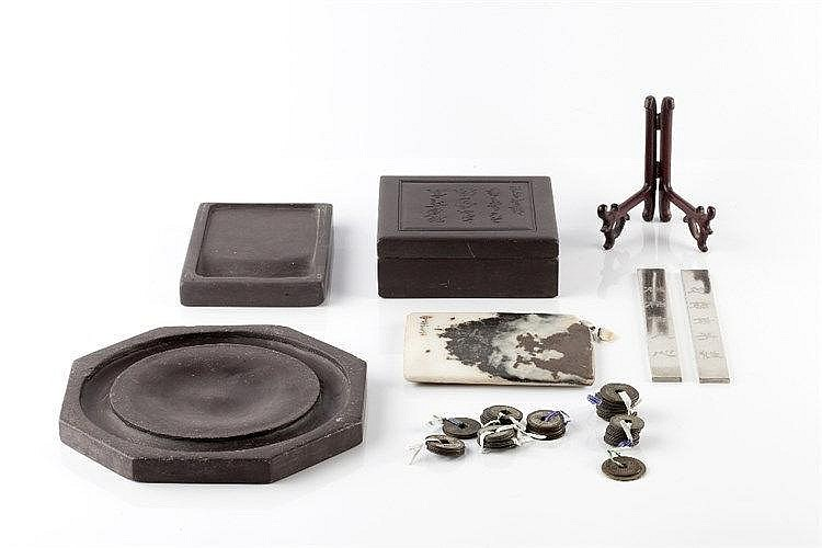 Three Chinese ink stones early 20th Century a Chinese small dream