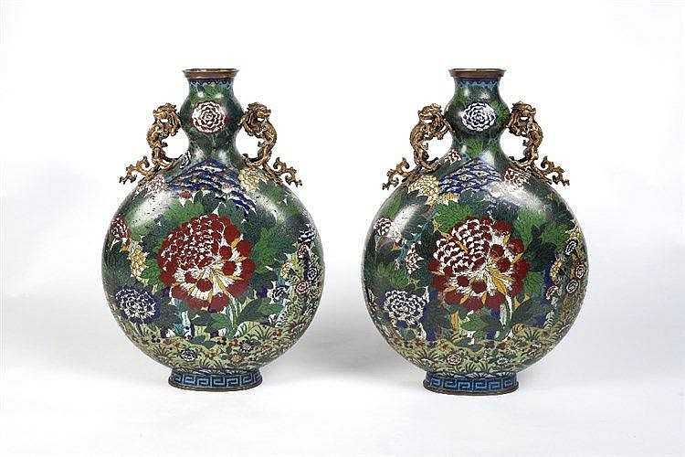 A pair of large Chinese cloisonne moon flasks 19th Century with allove
