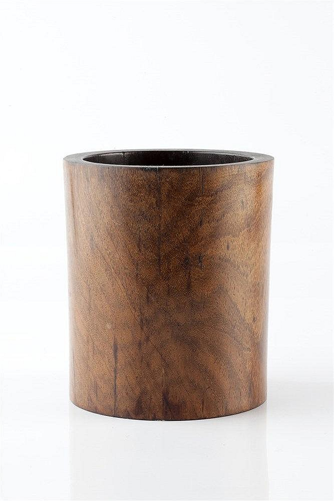 A Chinese hardwood brush pot (bidong) 19th Century of cylindrical form