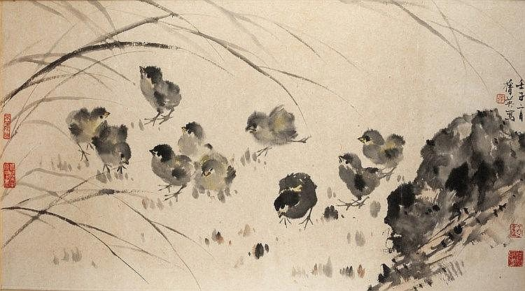 Chang Chien-Ying (1913-2003) Chicks, ink wash with red seal signature,
