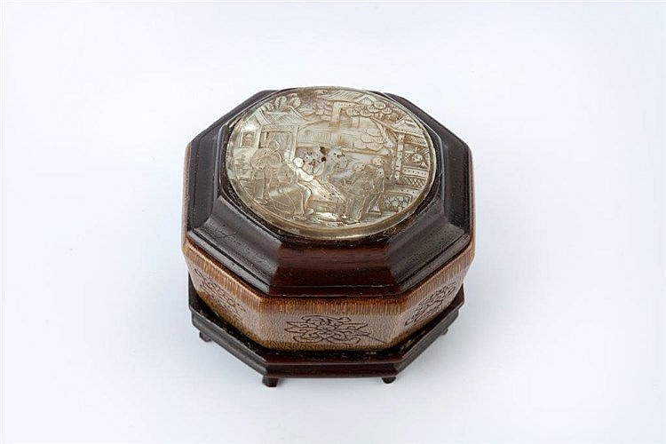A Chinese rhinoceros horn octagonal sided box 18th/19th Century engrav