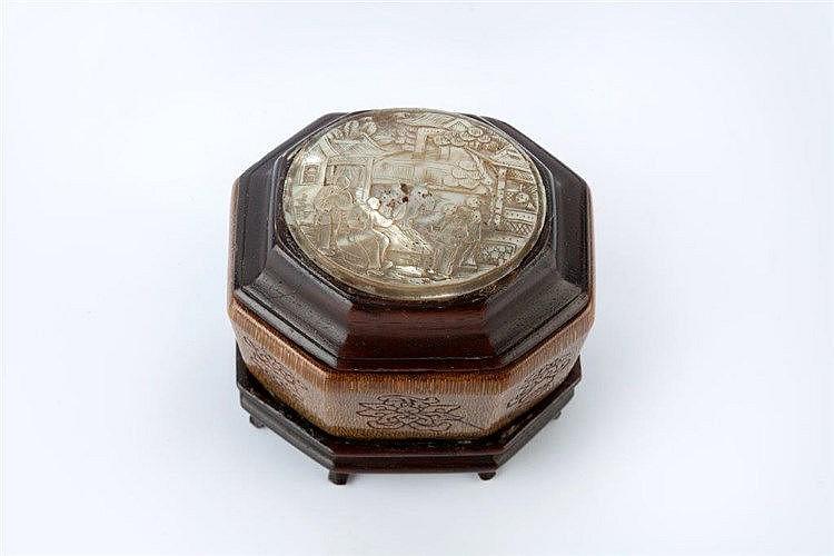 A Chinese rhinoceros horn octagonal sided box 18th/19th Century engrav