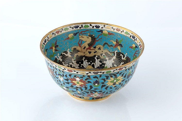 A Chinese cloisonne enamel bowl 1900-1920 decorated in Ming style with