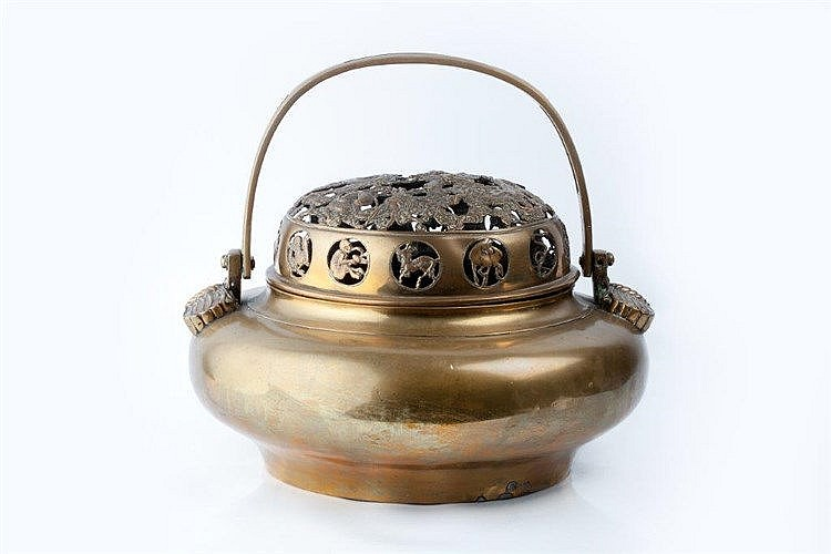 A Chinese brass incense burner and cover mid 19th Century with lo