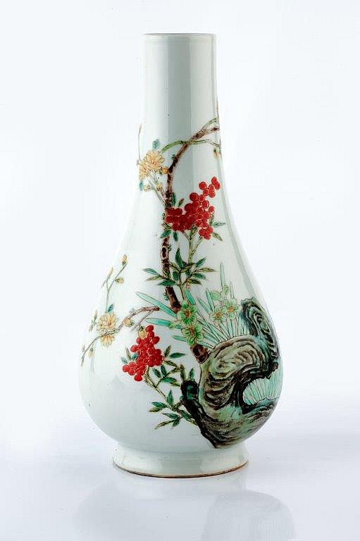 A Chinese porcelain bottle vase Republic period decorated in the