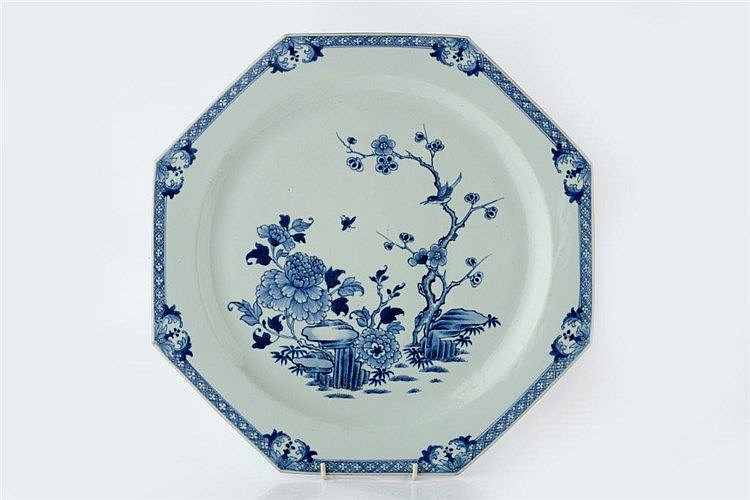 A Chinese octagonal blue and white porcelain charger circa 1800 w