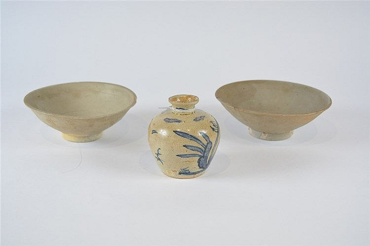 Two Chinese celadon bowls Song dynasty and a Ming provincial blue