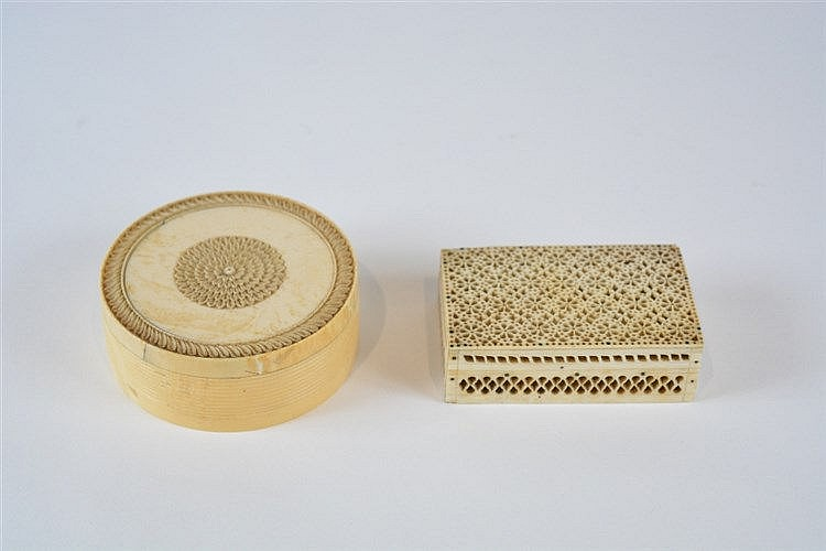 A Chinese ivory circular box 19th Century carved with a central chrysa