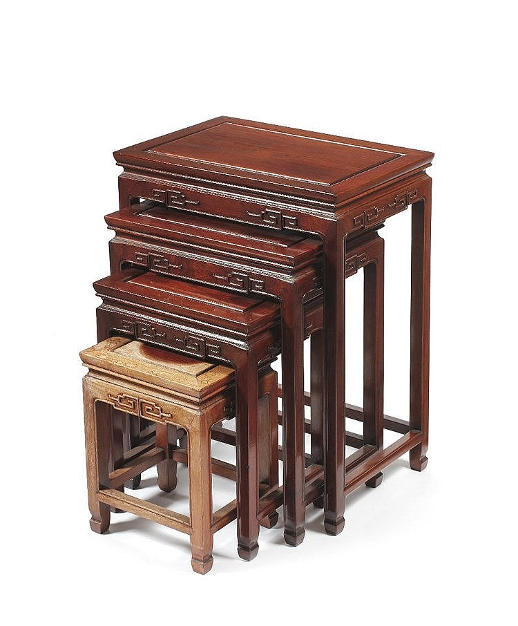 A Chinese quartetto of hardwood tables 20th Century each with carved d