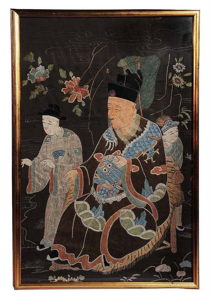 A set of four Chinese embroidered silk panels 19th Century making up o