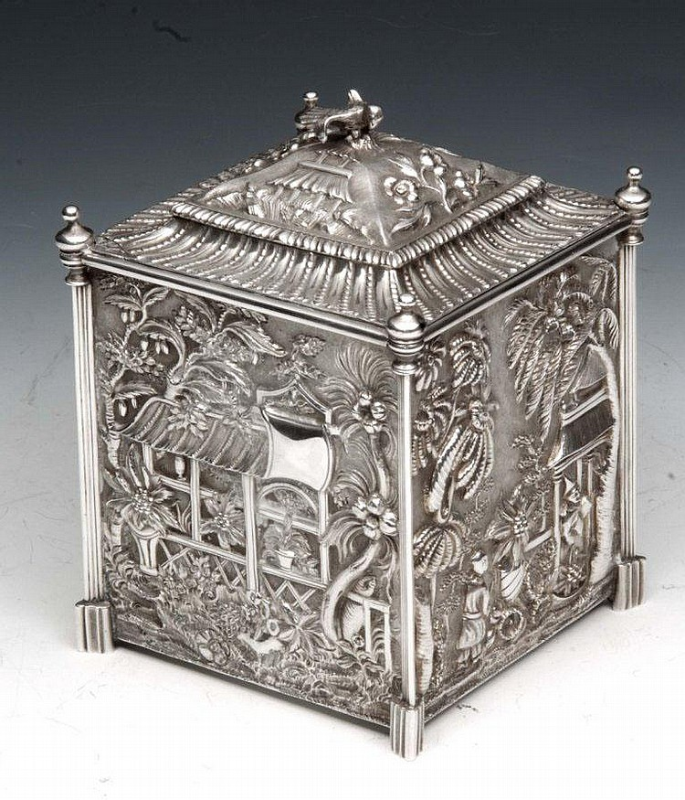 A VICTORIAN CHINOISERIE TEA CADDY of square form,