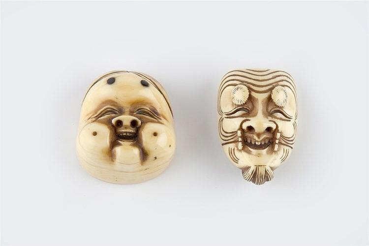 An ivory netsuke mask of Okina early Meiji signed Nagakazu, and a