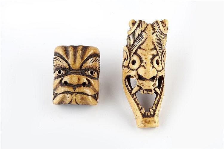 A bone netsuke of Hannya late 18th Century of elongated bone form