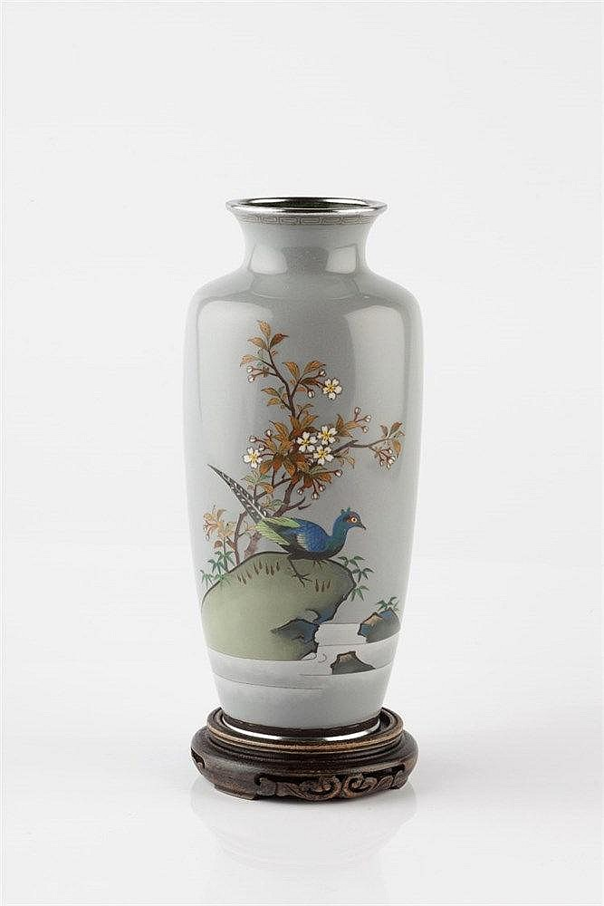 A Japanese grey ground cloisonne tapering vase Meiji with pheasan