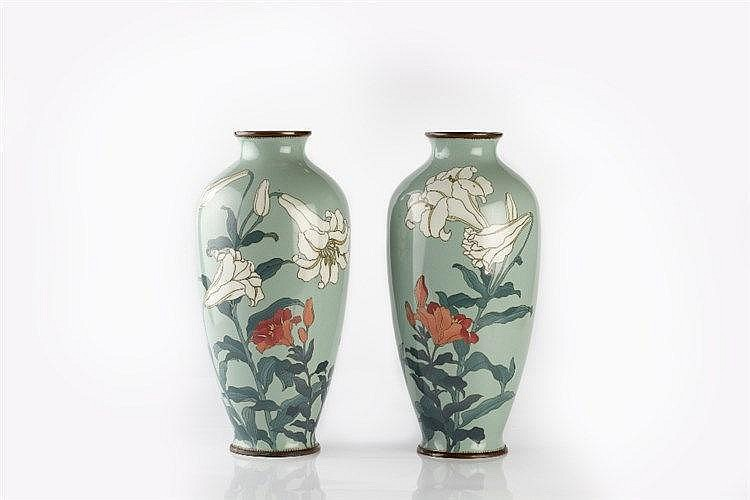 A pair of Japanese tapered oviform cloisonne vases late Meiji dec