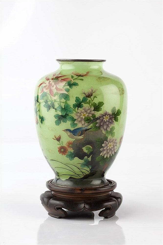 A Japanese plique a jour enamel vase Meiji period of ovoid form d