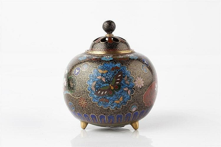 A Japanese cloisonne enamel koro Meiji period with goldstone pane
