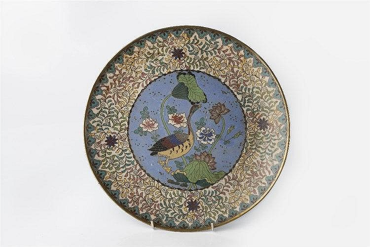 A Japanese cloisonne dish Meiji period the centre with a goose am