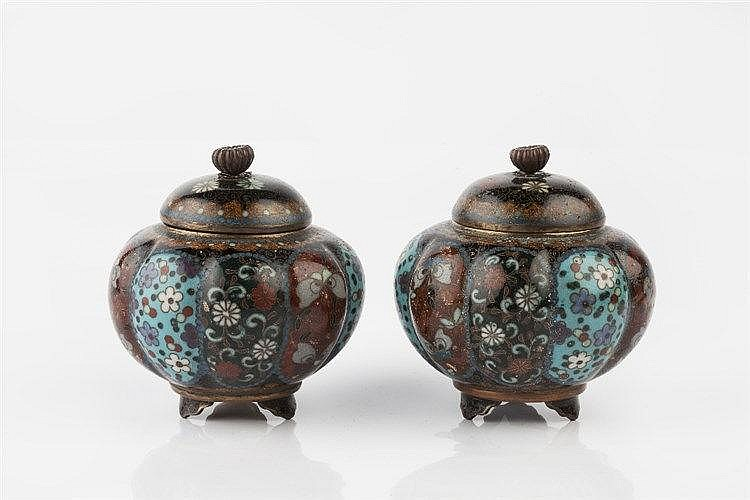 A pair of Japanese cloisonne vases and covers in the Namikawa Yasuyuki styl