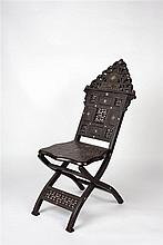 A Middle-Eastern hardwood folding chair 19th century with geometric bo