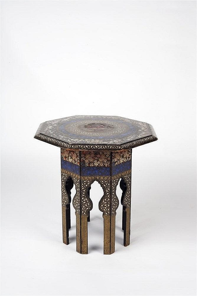 A Kashmiri octagonal occasional table  late 19th century  decorat