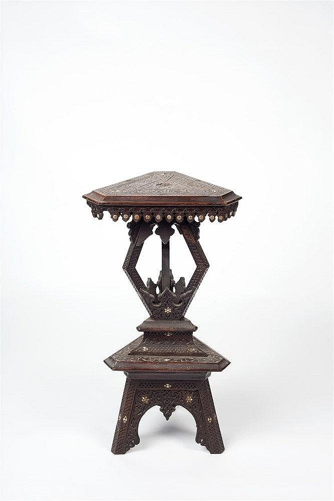 A two tier Middle-Eastern side table 19th century of triangular form,