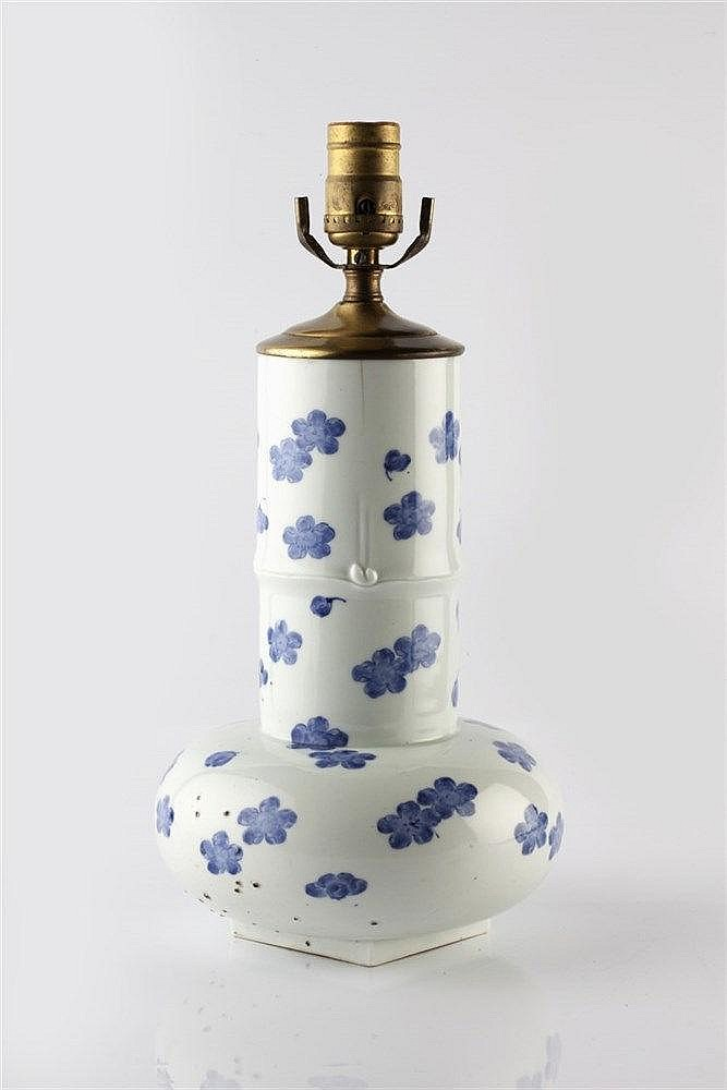 A Japanese blue and white Hirado vase circa 1900 modelled in the