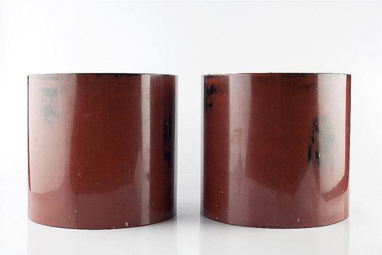 A pair of Japanese red lacquer containers circa 1900 each with co